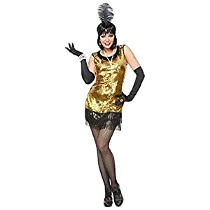 WIDMANN 08629para mujer Disfraz 20años Charleston, mujer, oro/negro