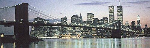 Buyartforless Poster/Kunstdruck Manhattan Skyline The Bridge and Beyond, Panorama-Nacht, Brooklyn Bridge, Twin Towers World Trade Center New York City, Michael Pasdzior, 91 x 30 cm - Twin Towers, Brooklyn Bridge