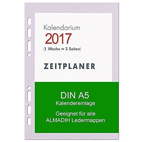 A5 Kalendereinlage 2017 für ALMADIH Ledermappen: A5 Terminplaner & Organizer (1 Woche auf 2 Seiten) Ersatzkalendarium Kalendarium Einlagen Kalender Zeitplaner Ringbuchkalender (A5 Manager - 2017)