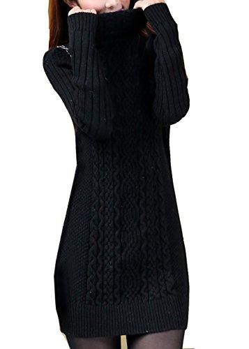 Cheerlife Damen Winter Strickkleid Rollkragen Pullover dehnbar Kleid Langarm Strickpullover Feinstrick Kleid XLS Schwarz