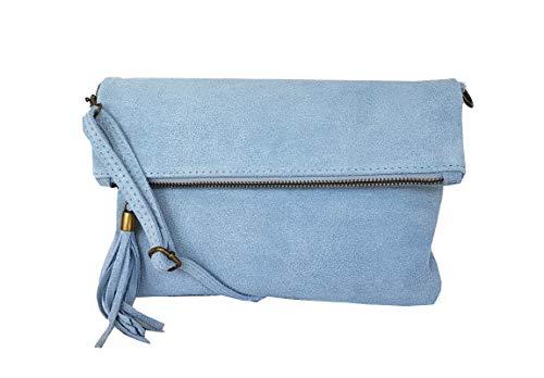 zarolo Damen Umhängetasche,Tasche klein, Schultertasche, Cross Body, Leder Clutch echtes Leder, Handtasche Italienische Handarbeit M20590 (WL- Hellblau)