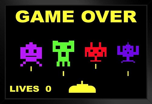 Poster Gießerei Space Invaders Game Over Throwback Retro Arcade Game Video Gaming proframes Retro 20x14 inches Framed Poster (Game Over Poster)