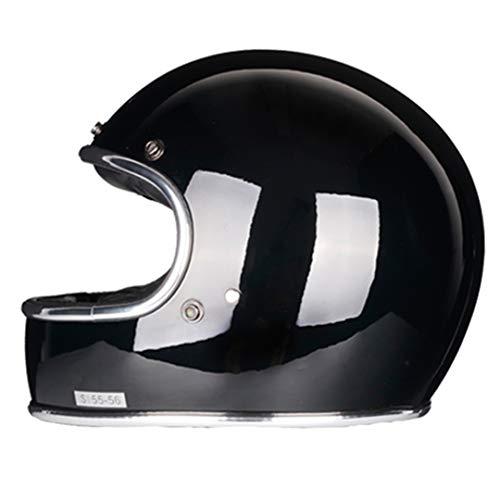 KeRuiLou Casco Moto Full Face in vetroresina Casco Stile retrò Vintage Classico Gloss Black XL