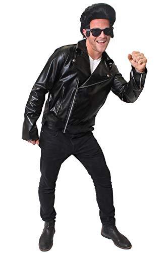 ILOVEFANCYDRESS Kunstleder Jacke= Rock&ROLL Jail House Rock KOSTÜM VERKLEIDUNG = 50er+ 80iger=Rocker Musik Fasching Karneval=MIT+OHNE ZUBEHÖR=PERÜCKE+Brille+Jacke/SMALL