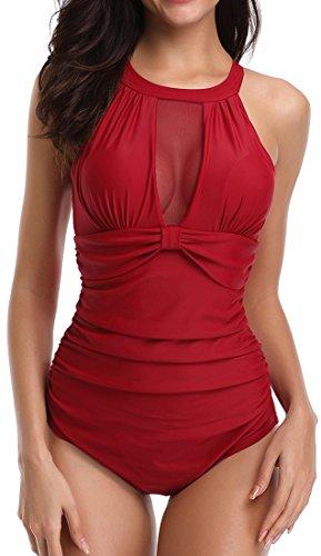 Chaos World Femme Maillot de Bain 1 Pièce Elégant Amincissant Taille Monokini Transparent Beachwear Push Up(Rouge,2XL(EU42-44))