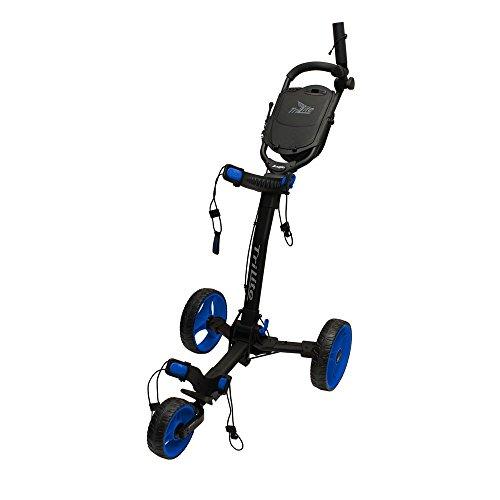 Axglo 3 Wheel Trilite Ultra Compact Foldable Aluminium Golf Trolley Cart (Free Carry Bag, Umbrella Holder & Beverage Holder) (Black/Blue)