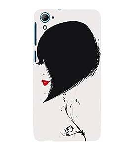 Fiobs Designer Phone Back Case Cover HTC Desire 826 :: HTC Desire 826 Dual Sim ( Bob Cut Women Short trendy Hair Lip Stick )