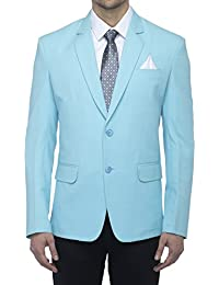 Favoroski Men's Cotton Blend Blazers - Sky Blue