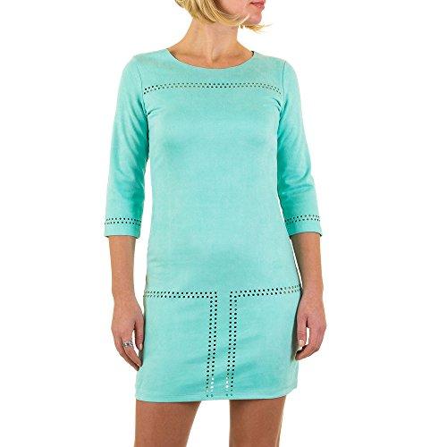 Veloursoptik Mini Kleid Für Damen bei Ital-Design Türkis