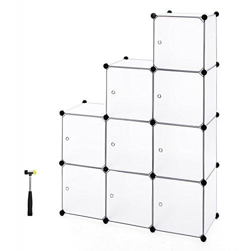 SONGMICS 9 Würfel DIY Regalsystem aus Kunststoff mit Türen in modischem Weiß, stabil und einfach zu montieren, Steckregal, LPC116WS
