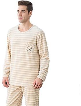 DMMSS Coppia pigiama Leisure sciolto manica lunga striscia pigiama Set , 1 , xxl