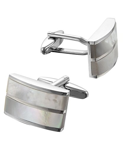 Code Red Men's Mother of Pearl Base Metal Cufflinks