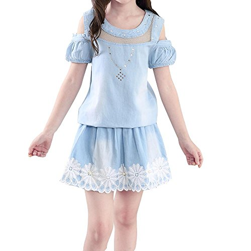 fleur denim coton sans manches jupe costume Princesse + short , picture color , 130cm (Nice Girl Dress Up)