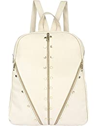 Typify Studded Casual Purse Fashion School Leather Backpack Shoulder Bag Mini Backpack for Women & Girls (White)
