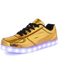 (Present:kleines Handtuch)Gold EU 42, Flashing Sportschuhe Herren JUNGLEST® Luminous 43, Lovers Glow Schuhe mode LED Damen Turnschuhe (Größe U