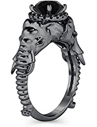 Silvernshine Halo Round Cut Simulated Black CZ Diamond 14K Black Gold Plated Elephant Fashion Ring