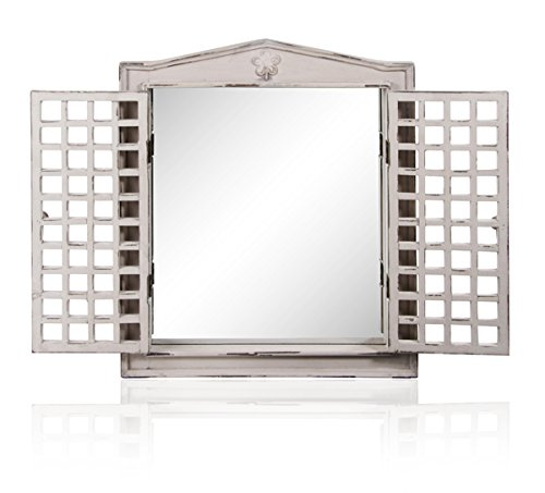 Reflect Antique Effect Glass Garden Mirror with Wooden Shutters - 2ft x 1ft 7in