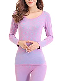 Zhhlinyuan Ladies Mujeres Winter Soft Cotton Round Neck Body-shaped Skinny Thermal Underwear Suits