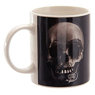 Black & White Skull Printed Transfer Bone China Mug Gothic Skeleton Dead Cup