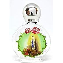 GTBITALY Maria aparición Virgen de Lourdes Botella botellita de Vidrio con tapón de Plata para Agua
