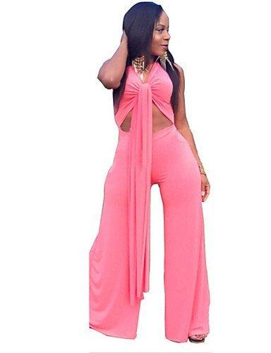 GSP-Combinaisons Aux femmes Sans Manches Sexy / Décontracté Polyester Opaque Micro-élastique red-l