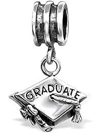 So Chic Joyas - Abalorio Charm casquillo Sombrero Graduate - Compatible con Pandora, Trollbeads, Chamilia, Biagi - Plata 925