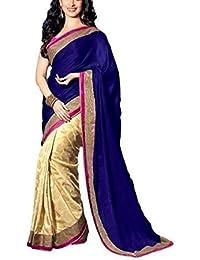 Purva Art Womens Latest Arrivals Beautiful Wedding Wear & Party Wear Royal Blue Velvet Saree (741_Half_Saree_For_Ladies)