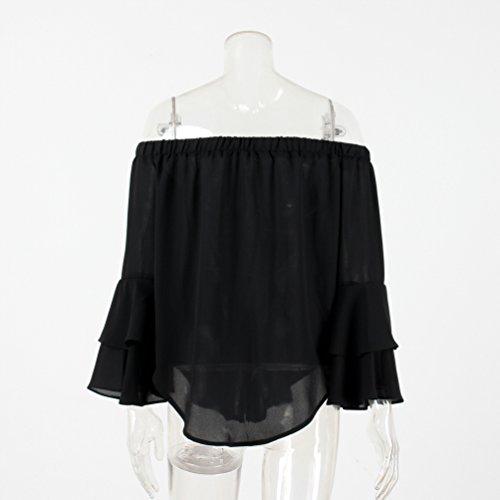 NiSeng Donna Camicetta Maglietta Spalle Scoperte Manica Lunga Blusa Elegante Casual Blusa Chiffon Top Nero