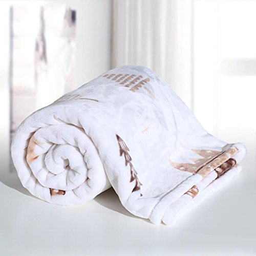 YAOHAOHAO Weiß Wald Muster babydecke Decke Polyester Material Winter Kindergarten Konzipiert für Baby (100*150cm)