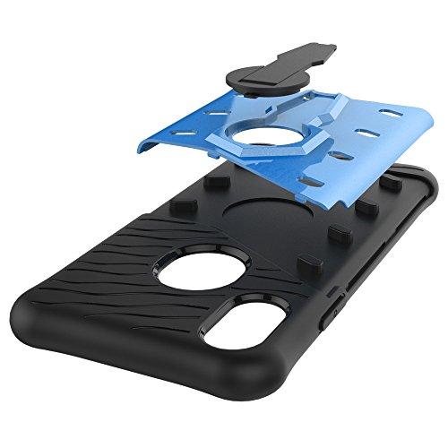 Meimeiwu Stilvolle TPU 2-Schicht-Schutz Durable Fall-Abdeckung mit Kickstand 360°Drehbaren für iPhone 8,Blau Blau