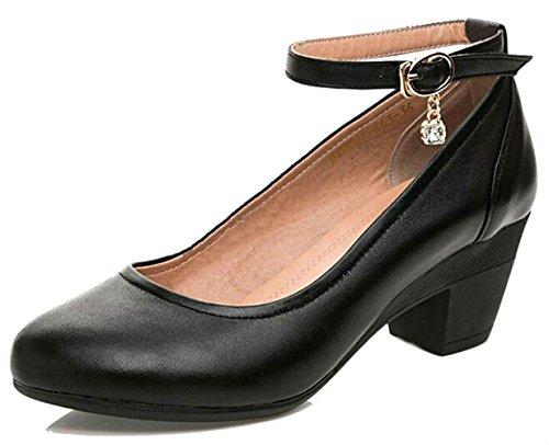 DADAWEN Women's Ankle Strap Low Mid Block Heel Mary Jane Pumps Court...