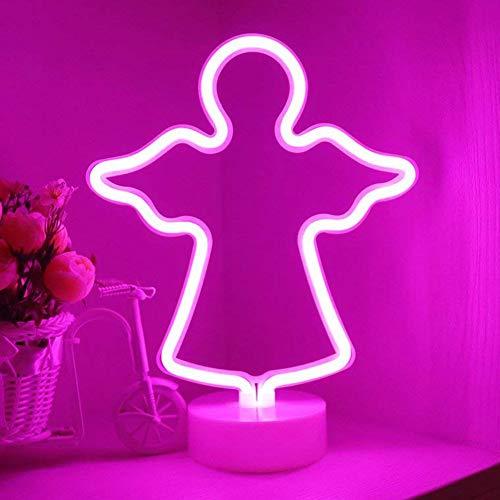 (LED Engel Neonlicht Zeichen - Lila Rosa Room Decor Nachtlichter mit Sockel Innenbeleuchtung Batterie Operation Engel Zeichen geformt Dekor Leuchtschilder, Nachttischlampen Home Dekoration)