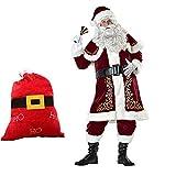 Santa Claus Costume, Father Christmas Xmas Full Costume, Complete Outfit Sombrero Barba Guante Campana,Arriba El Cinturón Los Pantalones Las Botas, Velour Bolsa, Adultos 10 Piezas (M-XXXL) Rojo,XXL