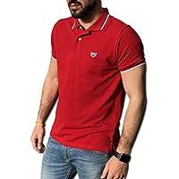 CONSENSO Polo Uomo T-Shirt Mezza Manica TG. M, L, XL, XXL, XXXL - Colori Assortiti (XXL, Rosso)