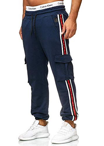 OneRedox Herren | Jogginghose | Trainingshose | Sport Fitness | Gym | Training | Slim Fit | Sweatpants Streifen | Jogging-Hose | Stripe Pants | Modell 1224 Navy S
