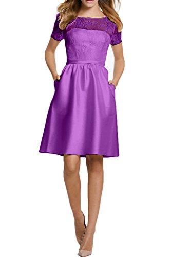 Ivydressing Damen Einfach Kurz Aermel A-Linie Rueckenfrei Satin&Tuell Festkleid Ballkleid Abendkleid Violett