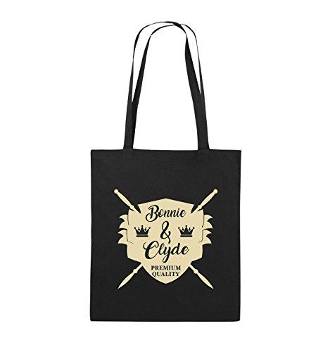 Comedy Bags - Bonnie & Clyde Ritter - Motiv - Jutebeutel - Lange Henkel - 38x42cm - Farbe: Schwarz/Beige (Bonnie Und Clyde Outfits)