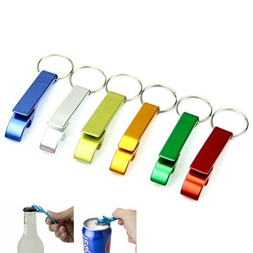 Kanggest 5pcs Llaveros Abrebotellas con anilla Acero Inoxidable Mini Pocket Abridor de Botella para Cerveza de Jugo beber(Color aleatorio)