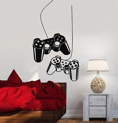 Joystick para pared Video Gamer juego habitación niños pegatinas de vinilo arte vs2532