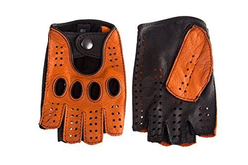 Cashmere-leder-rucksack (Herren Autofahrer Handschuhe Radfahrhandschuhe Aus Leder Orange Braun (8.5, Orange Braun))