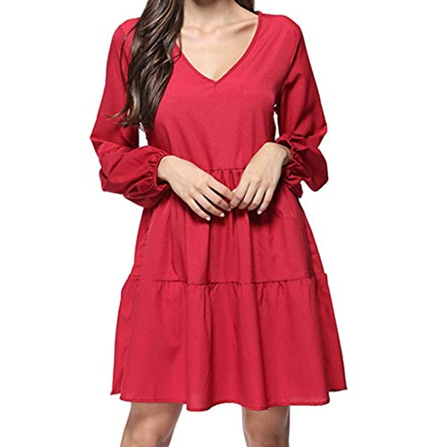 Linkay Damen Kleid, Sommer Neuer Trend Solid Slash Neck Print Slim Rock Buckle Sling Langarm Kleider Mode 2019 (Rot, X-Large)