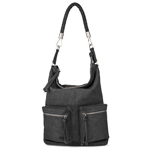 BACCINI Beuteltasche echt Leder Sofia groß Hobo Bag Schultertasche Ledertasche Damen schwarz