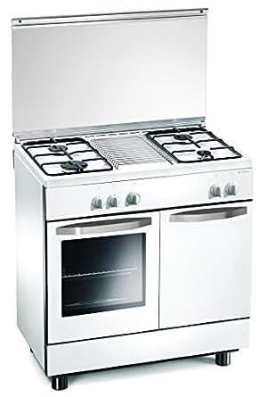 cucina a gas 80x50x85 cm bianca 4 fuochi con forno a gas