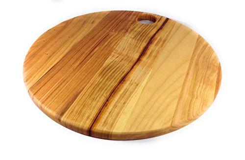 Prosharp® GRAND GALET Planche à découper en bois Massif Naturel / Sous de plats / Plateaux à Fromage, Charcuterie - Ronde - Ø Diamèrtre: 42 cm (Cerisier)