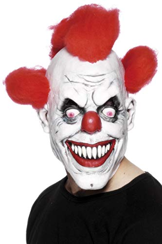 Smiffys Herren Grusel Clown Maske mit angebrachtem Haar, One Size, Rot und Weiß, 26385 (Halloween-kostüm Amazon Clown)