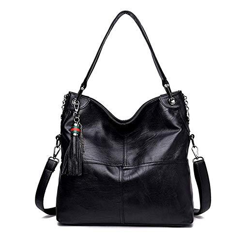 IRVING Handtaschen für Frauen Große Designer-Damentasche Bucket Purse PU Leather (Color : Black)