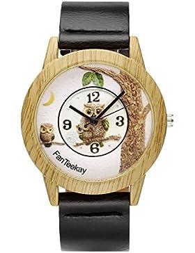 JSDDE Uhren,Vintage Holz-Muster Eule Armbanduhr Damenuhr Kleid Uhr PU Lederarmband Analog Quarzuhr,Schwarz
