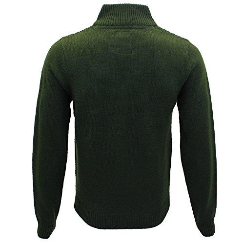 Da uomo Raglan Chunky cavo maglia collo a imbuto Pullover by Threadbare Khaki