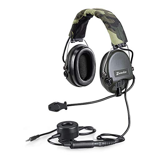 3,5 mm Militär Automatisch Overhead-Headset mit Geräuschunterdrückung Boom Mikrofon und Heavy Duty PTT für iPhone, Samsung, LG, Huawei, iPad, iPad Mini, PC Computer Etc. Ptt-boom Headset