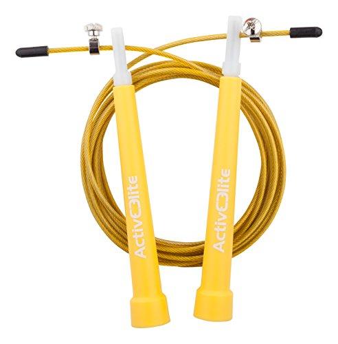Image of ActiveElite ✮ Profi Springseil für Sport & Fitness ✮ Ideal für: Boxen, Crossfit, MMA, WOD ✮ Speed Rope ✮ BONUS: Transporttasche + Ersatzseil & weiteres Zubehör (Gelb)